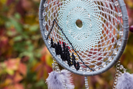 net: Dream catcher with feathers threads and beads rope hanging. Dreamcatcher handmade