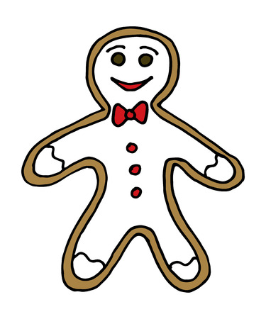 Vector hand drawn Christmas gingerbread man on white background. Illustration