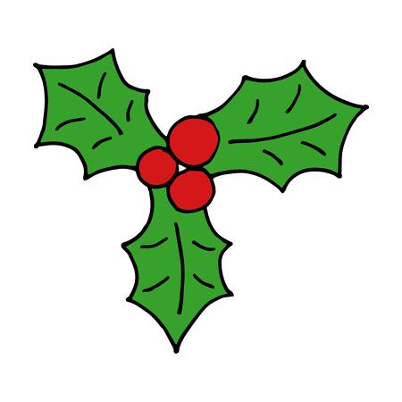 Cartoon mistletoe hand drawn doodle icon.