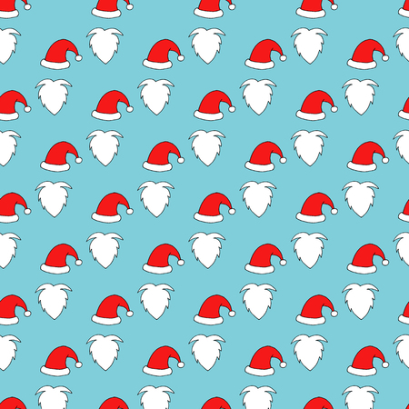 Seamless pattern of Santa hats, moustache and beards. Christmas background for your festive design.
