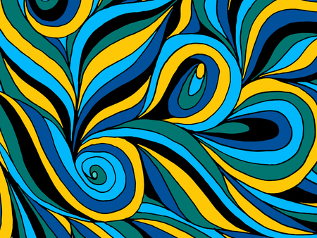 Abstract hand drawn illustration, decotative waves background.