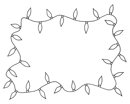 illustration sketchy frames illustration hand drawn festive christmas lights with place for your text in the center
