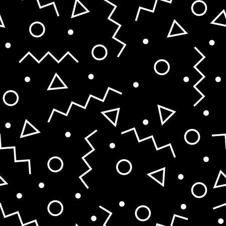Naadloos geometrisch patroon Vorm een driehoek, een lijn, een cirkel. Hipster mode Memphis stijl.