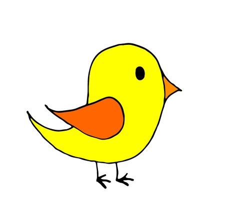 hand drawn doodle little bird cartoon, line art, coloring. Illustration