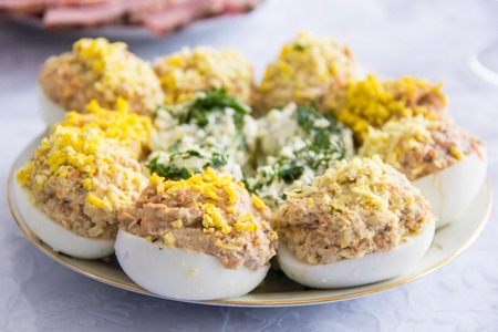 Homemade Stuffed eggs, perfect Easter party snack.