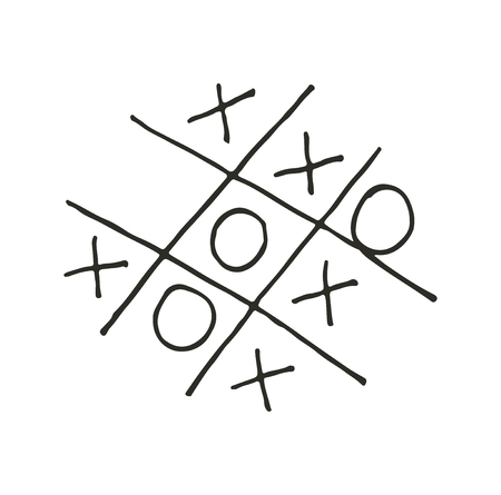 Hand drawn tic-tac-toe competition, grungy brush illustration.
