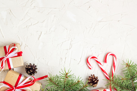 christmas or new year decorations background with pine cones
