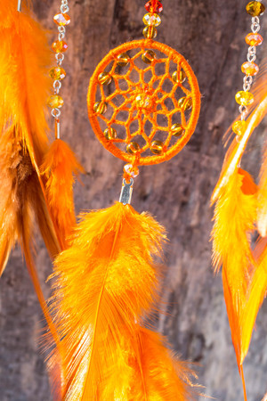 Dream catcher with feathers threads and beads rope hanging. Dreamcatcher handmade Stock fotó - 114287881