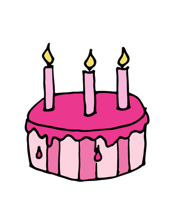 Cartoon hand drawn doodle sketch vector Birthday Cake with candle illustration