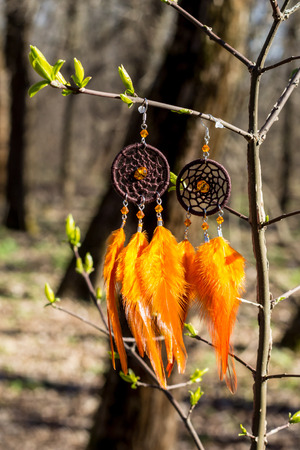 earrings of Dream catcher with feathers threads and beads rope hanging. Dreamcatcher handmade Stock fotó - 120886646
