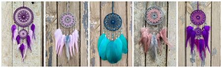 Collage of Dream catcher with feathers threads and beads rope hanging. Dreamcatcher handmade
