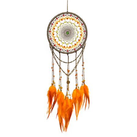Dream catcher with feathers threads and beads rope hanging. Dream catcher handmade isolated on white Foto de archivo
