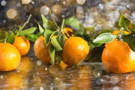 many orange tangerines with green leaves on dark background. Toned bokeh and snow