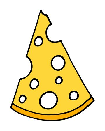 Hand drawn of part of cheese cartoon doodle, isolated on white background