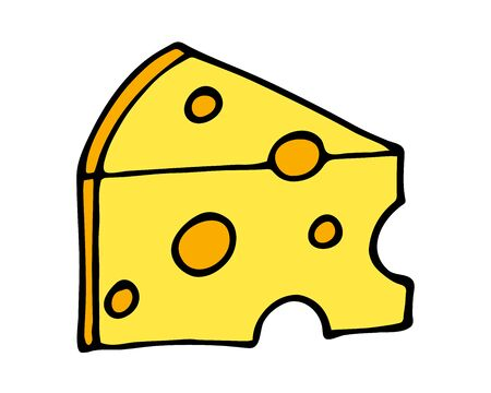 Hand drawn of part of cheese cartoon doodle, isolated on white background Vettoriali