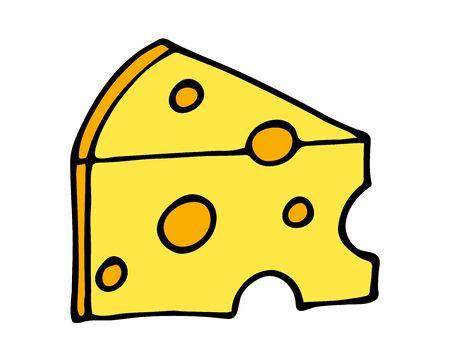 Hand getrokken van een deel van kaas cartoon doodle, geïsoleerd op een witte achtergrond Vector Illustratie