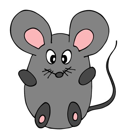 Hand drawn of Cute little mouse cartoon doodle, isolated on white background