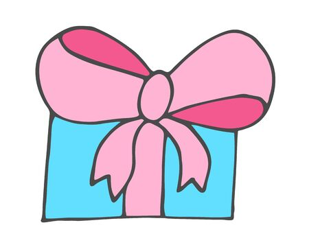 Doodle hand drawn gift box with bow. Vector romantic present. Graphic element for Valentines Day or birthday card design wedding invitation