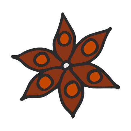 Hand drawn doodle cartoon Sketch Anise star flower seed plant illustration. Stock Illustratie