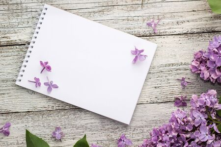 Clean notepad with spring lilac flowers on white wooden background. Top view with copyspace Stock Photo - 138202561