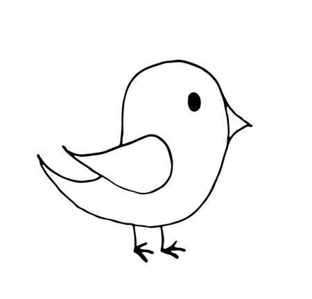 hand drawn doodle little bird cartoon, line art.