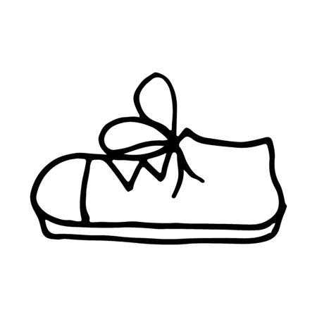 Vector cartoon hand drawn sketch sport shoes design element. Doodle illustration on white background Ilustración de vector
