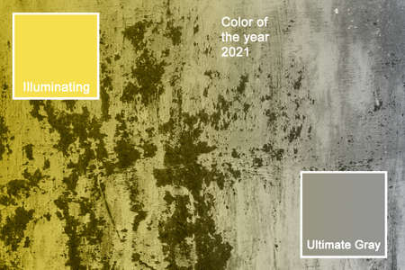 Corroded metal background. Rusted painted metal wall corrosion with streaks of rust. Color of the year 2021