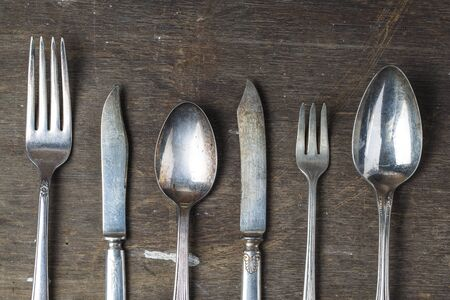 silver plated: Knife and fork Stock Photo