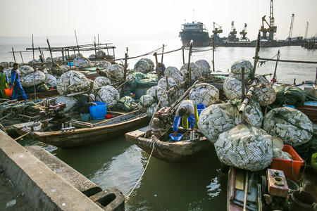 commercial fisheries: fisherman and fishing boats