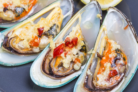 mussel: barbecue mussel Stock Photo