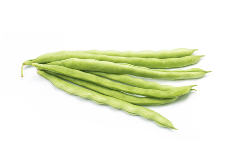 Green beans handful isolated on white background cutout Stock Photo