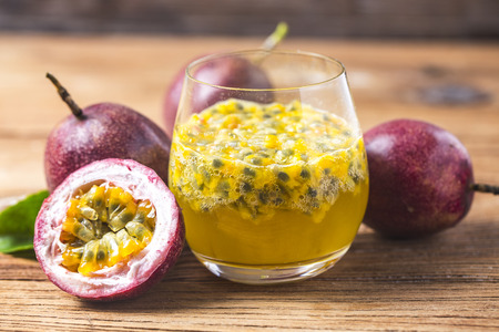 Mango with Passion fruit smoothie by fresh ingredients Stock Photo