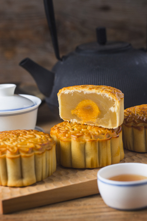 Mooncake served with hot Chinese tea Stock Photo