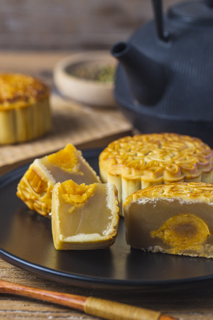 tradition: Mooncake served on the table
