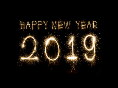 Happy 2019 >> Happy New Year 2019 Written With Sparkle Firework Stock Photo