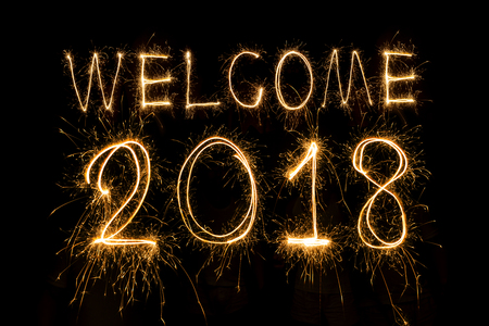 welcome 2018 written with Sparkle firework