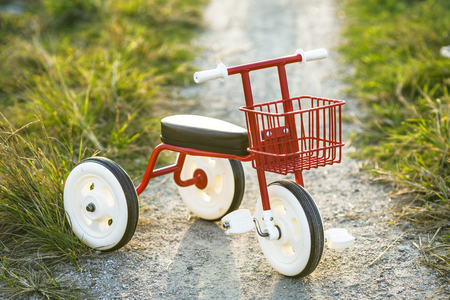 Tricycle kids bike Bicycle blue and red new is on the road in the garden to entertain children.