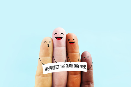 Stop racism icon. To protect the earth together