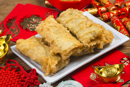 Chinese food spring rolls