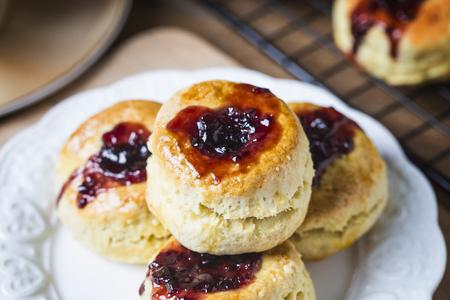 English scones with cream and strawberry jam