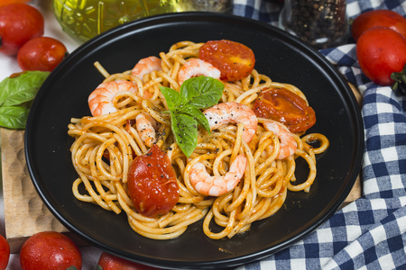 Prawns and spaghetti Stock Photo
