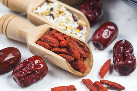 Red dates, goji berries and all kind of beans Stock Photo