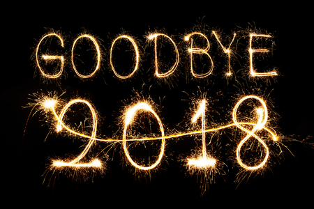 Goodbye 2018 written with Sparkle firework