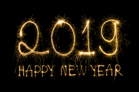 Happy new year 2019  written with Sparkle firework Stock Photo