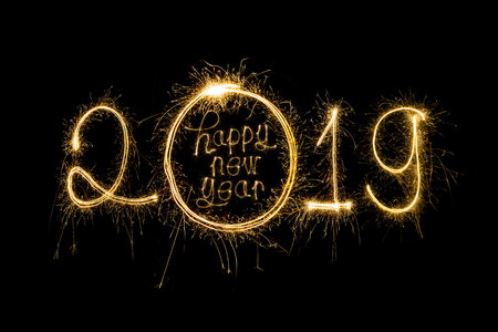 Happy new year 2019  written with Sparkle firework Banque d'images