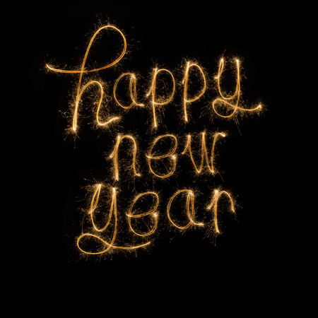 Happy new year   written with Sparkle firework