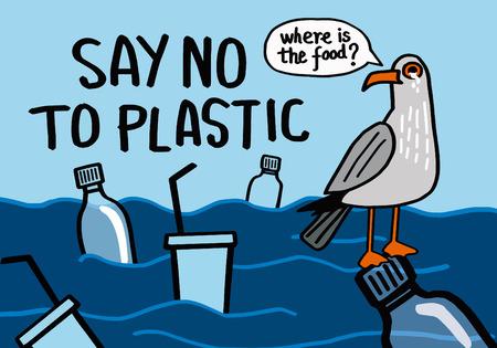 Dites non au plastique. Expression de motivation. Illustration vectorielle avec lettrage.