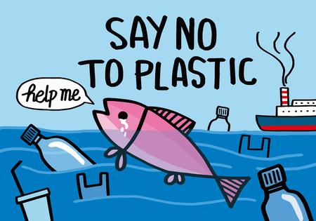 Diciamo no alla plastica. Frase motivazionale. Illustrazione vettoriale con scritte.