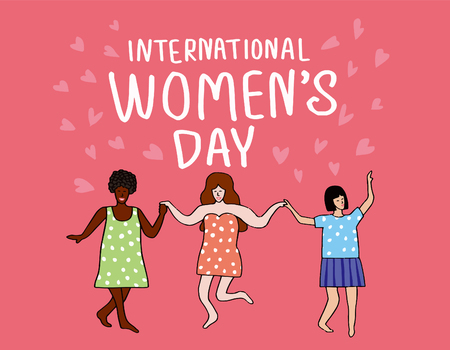 International Womens Day. Vector template with lettering design Ilustração