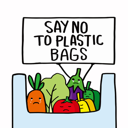 Stop plastic pollution concept. Say no to plastic bags.